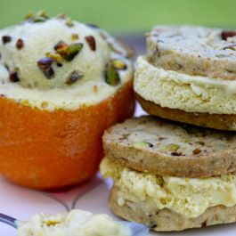 Orange Cardamom Pistachio Ice Cream (Sandwiches)