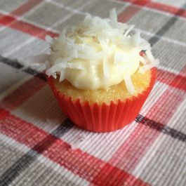 Mini Corn Cupcakes with Cream Cheese Frosting and Coconut