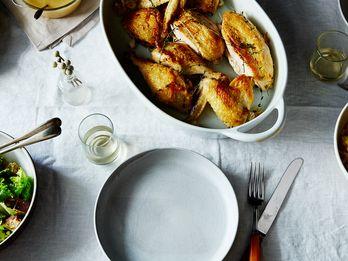 Dinner Tonight: Super-Quick Roast Chicken with Garlic and White Wine Gravy