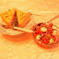 Corn and Tomato Crustless Quiche with Fresh Tomato Salad