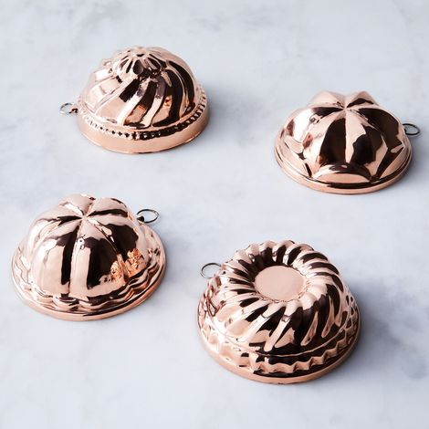 Vintage Copper French Moulds, Late 19th Century (Set of 4)
