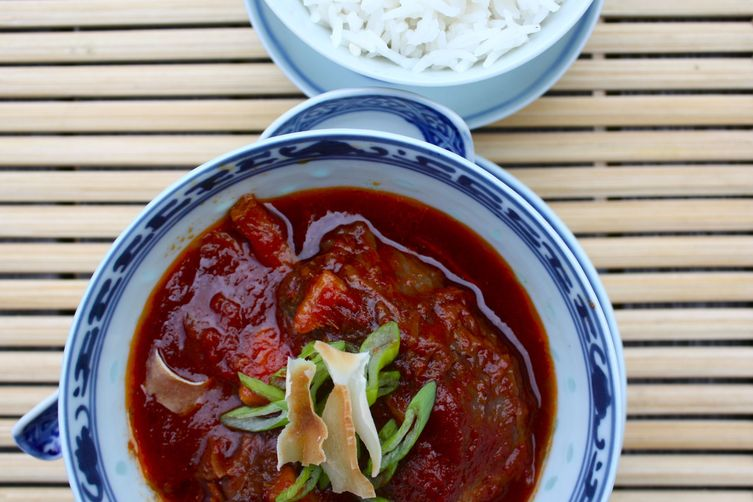 Slow cooked shin of beef with asian spices