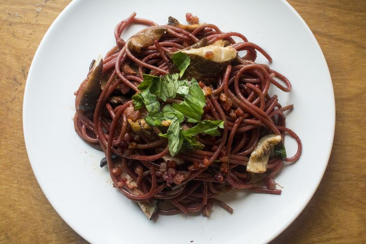 Wine Soaked Spaghetti with Roasted Mushrooms and Pancetta