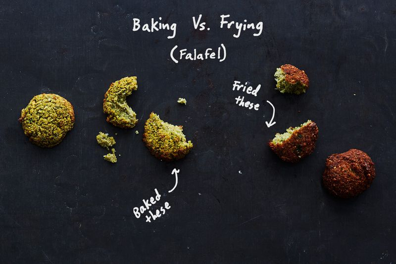 The fried falafel were browner on the outside (and greener on the inside!).