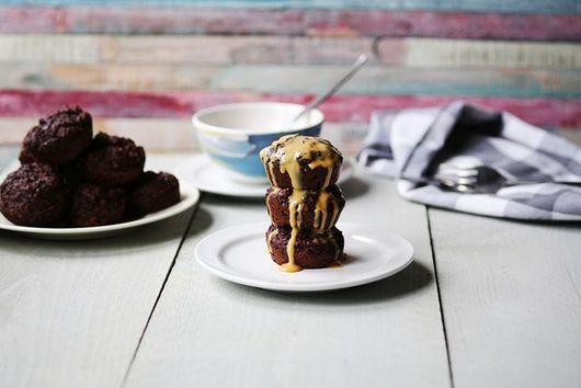 Vegan banana chocolate protein muffins
