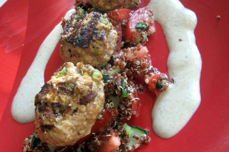 Grilled Lamb Kofta (Meatballs) with Scarlet Quinoa Tomato Cucumber Salad