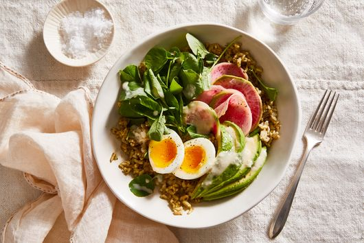 Pesto Brown Rice Bowl with Quick-Pickled Radishes