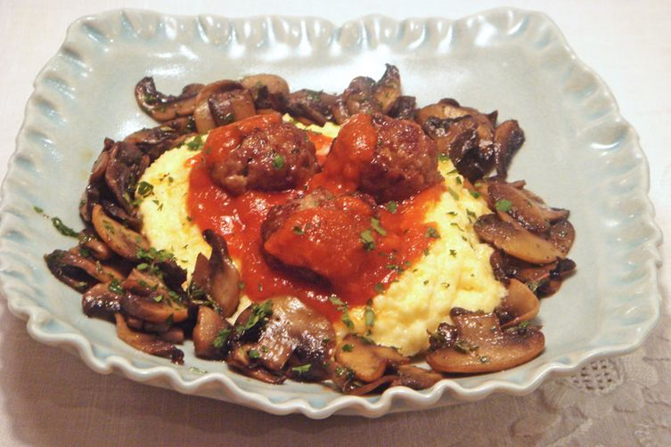 Polenta with spicy meatballs and sautéed mushrooms