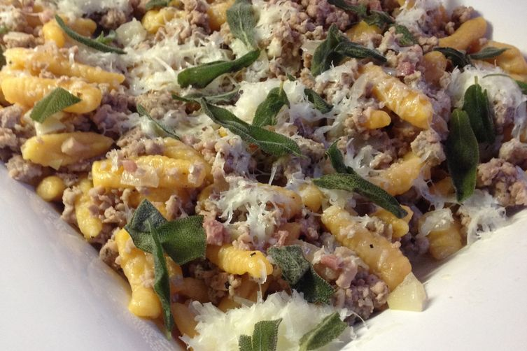 SWEET POTATO CAVATELLI WITH SAUSAGE, PANCETTA, FRIED SAGE, AND SAUTÉED WILD MUSH