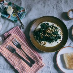 Saffron Yogurt with Spinach and Pine nuts