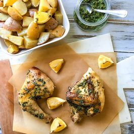 Roasted Chicken and Potatoes with Herb Sauce