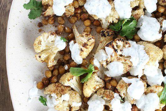 Roasted Cauliflower And Chickpeas With Yogurt Sauce