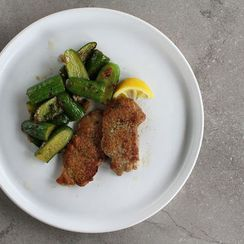 Pork Scaloppine with Sauteed Cucumbers + Spring Onions