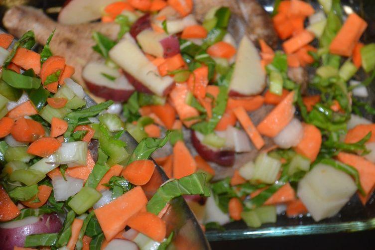 garlic 2-potatoes- veggie casserole and rosemary chicken