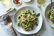 Pasta with Yogurt, Green Peas & All the Herbs