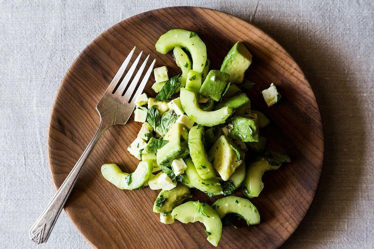 Crunch Creamy Cucumber Avocado Salad from Food52