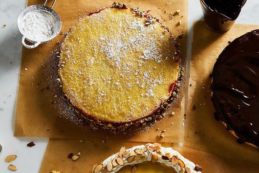 Cranberry Cream Sponge Cake with Pistachios