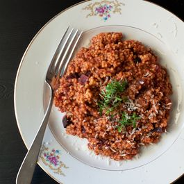 "Beetroot ""Risotto Style"" Millet with Parmigiano and Thyme"