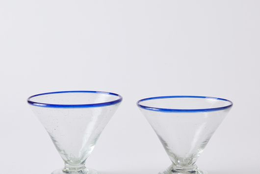 Hand-Blown Recycled Margarita Glasses (Set of 2)