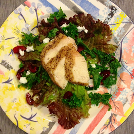 Kale and Red Lettuce Salad W/ Goat Cheese, Pickled Cherries and Grilled Chicken