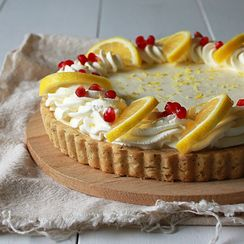 Lemon cream pie with earl grey shortbread crust
