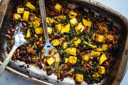 Tofu, mango + cashew sheet pan {gluten-free, vegan, dairy-free}