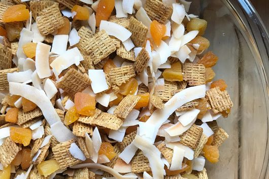 Tropical Sunset Snack Mix with Coconut, Cinnamon, and Apricots