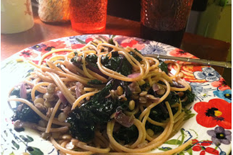 Spagetti with Kale and Lentils