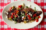 Grilled Skirt Steak with Greek Salsa