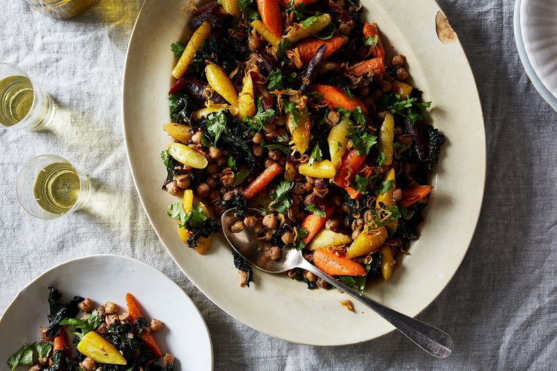 Spiced Chickpeas with Wilted Kale and Roasted Carrots