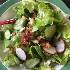 Simple Lettuce Salad with Radishes, Cucumbers, Blue Cheese and Bacon