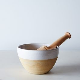 Dipped Stoneware Mortar and Wood Pestle