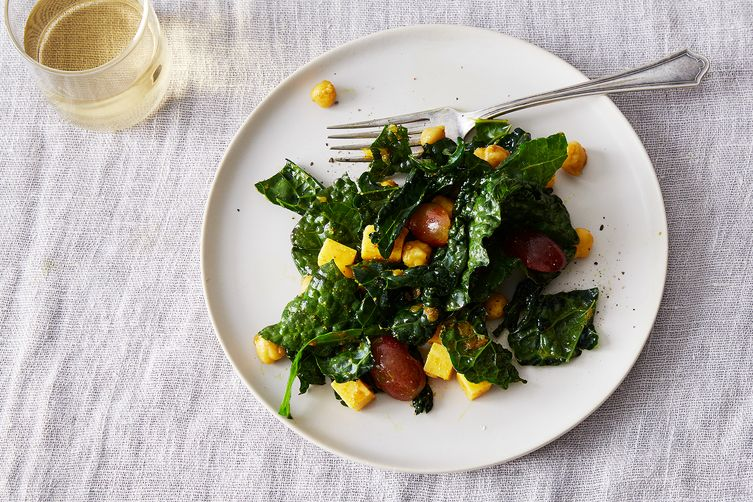 Curried Chickpea and Kale Salad with Cheddar and Grapes