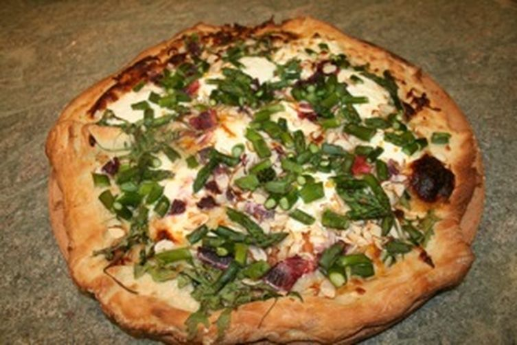 Spring Pizza with Blood Oranges, Arugula, and Almonds