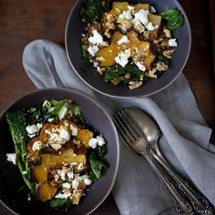 Warm Farro and Mustard Green Salad with Maple-Roasted Acorn Squash