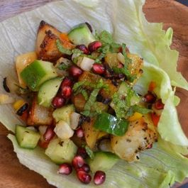 Grilled summer salad with a citrus & pomegranate molasses dressing.
