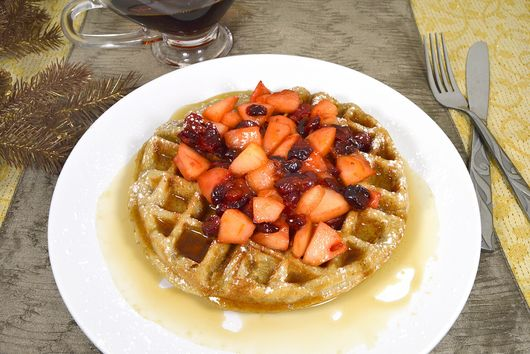 Chestnut Waffles with Apple Cranberry Topping