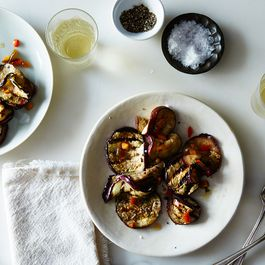 64d04e4b 0528 4f59 b283 ac50b91add7f  2015 0818 grilled eggplant agrodolce with mint and fresno pepper james ransom 010