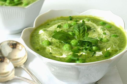 Creamy Fresh Pea Soup with Basil and Lime