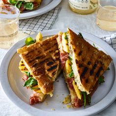 Prosciutto, Nectarine and Fontina Panini on Rosemary Focaccia
