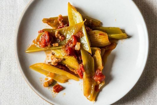 Dinner Tonight: Marcella Hazan's Braised Celery + Tomato Sauce with Polenta