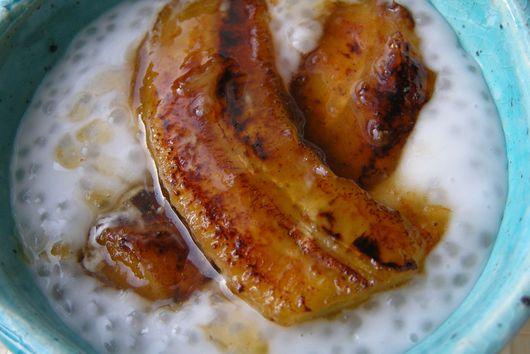 Coconut tapioca pudding with cardamom and caramelized bananas