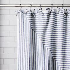 Handmade Tie-Top Linen Bath Curtain