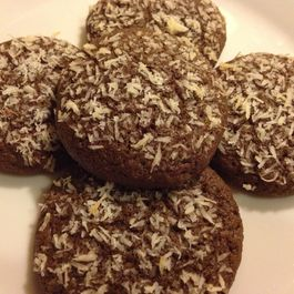 Coconut-topped chocolate cookies with a hint of cinnamon