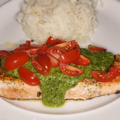 Herb Crusted Salmon with Arugula Citrus Pistou and Grape Tomatoes