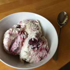 Cherry Bourbon Ripple No-Churn Ice Cream