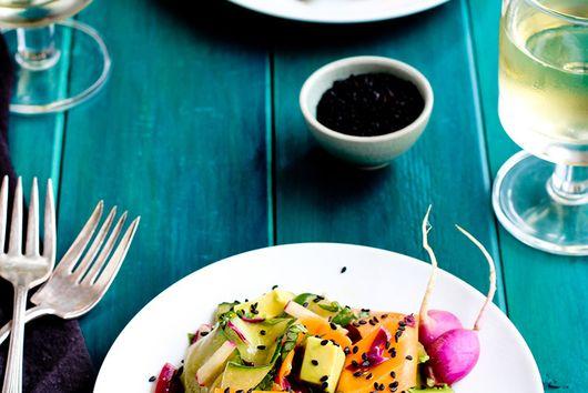 Veggie Ribbon Salad with Sesame Tangerine Vinaigrette