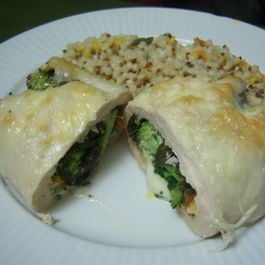 Spinaccomato Stuffed Chicken with Basil and Cheeses