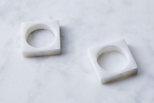 Modernist Marble Napkin Rings (Set of 2)