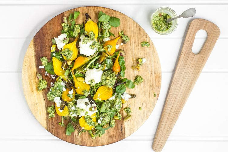 Roasted Beetroot Salad w Goat Cheese + Watercress Salad